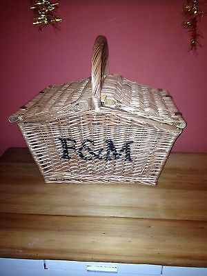 Large Fortnum And Mason Wicker Shopping Basket With Lids