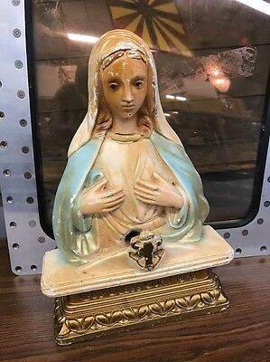 Vintage Chalkware Large Mary God Bless Our Home Lamp Statue