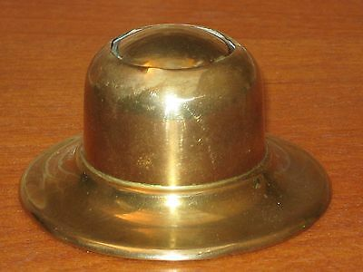 Antique Brass Inkwell With Liner