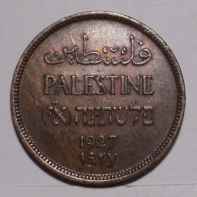 1927 Palestine One Mil Bronze Coin , AU