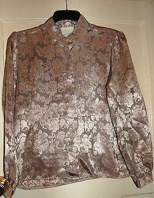 Ladies Vintage Gold Brocade Blouse Size 12