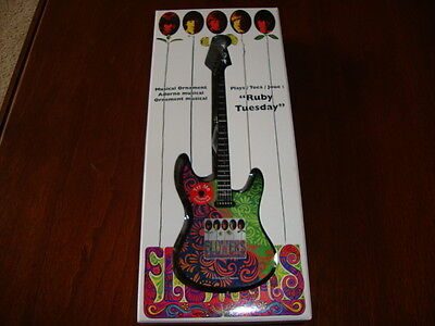 """The Rolling Stones Guitar Musical Ornament Plays """"Ruby Tuesday"""" New in Box"""