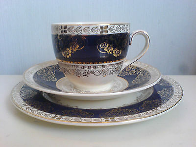 Crown Ducal Ware Pattern CRD6107 Blue / Gold Detail Trio Cup, Saucer, Plate