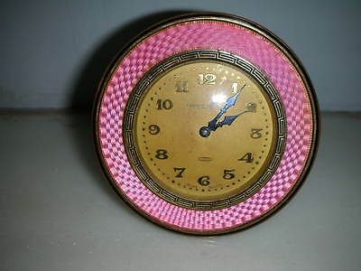 ANTIQUE SWSS MADE PINK GUILLOCHE OVERLAID EASTERN WATCH Co. MANTLE CLOCK