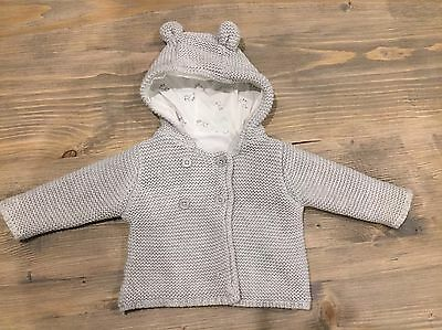 M&S Knitted Baby Coat 0-3 Months Grey With Cotton Lining.