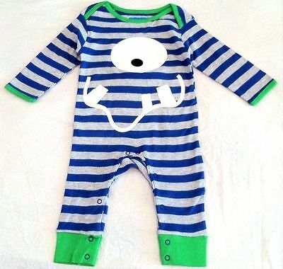 New Lily & Jack Boys Monster Romper Baby Grow Playsuit 100% Cotton 3-6 Months