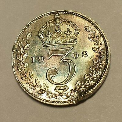 1908 Maundy Threepence   Edward VII   0.925 Silver Content   UNC With Damage