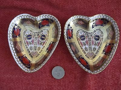 2 x ROYAL CROWN DERBY Old Imari 1128 Heart Shaped Pin Dishes