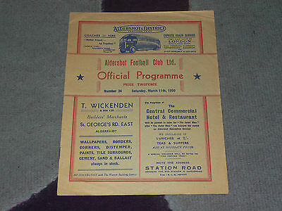 1949/50 Football Combination Cup - ALDERSHOT Reserves v PLYMOUTH ARGYLE Reserves