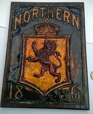 Nothern insurance company fire mark from 1836 painted copper