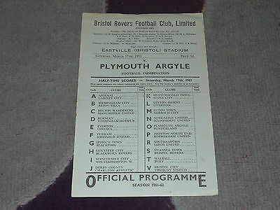 1961/62 Football Combination - BRISTOL ROVERS Reserves v. PLYMOUTH ARGYLE Res.