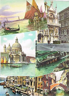 ITALY POSTCARDS - 6 views of Venice - 5 painted - unused perfect condition