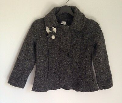 Baroni Firenze Designer Charcoal Grey Wool Blend Coat Jacket 3 Years Girl Italy
