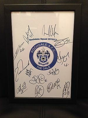 Rochdale FC NEW 2016/17 Hand Signed Framed A4 Autograph Sheet