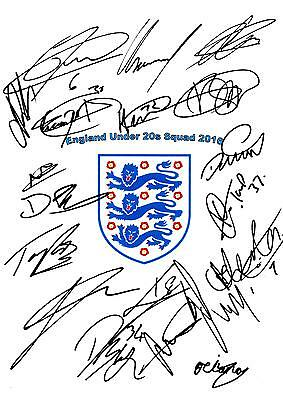 England Under 20s X19 NEW Hand Signed A4 Autograph Sheet 2016,Solanke,Ejaria