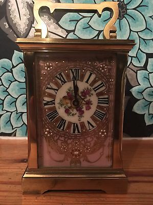 Beautiful Large Porcelain Panel Carriage Clock French Floral Cherub Scene Brass