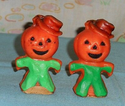 vintage Halloween GURLEY CANDLE LOT OF 2 scarecrow jack-o-lantern head man green