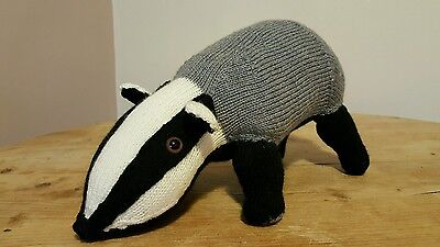 Hand Knitted Badger