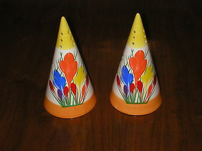 A Pair Of Clarice Cliff Crocus Design Sugar Shaker/sifter By Moorland Pottery