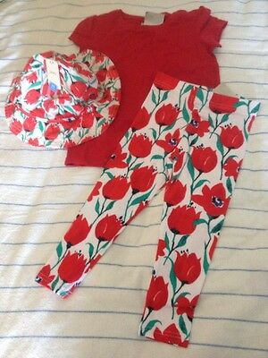 BNWT New Next Tulip Leggings Hat & Red T Shirt Girls Outfit Set 3-4 Years Twins