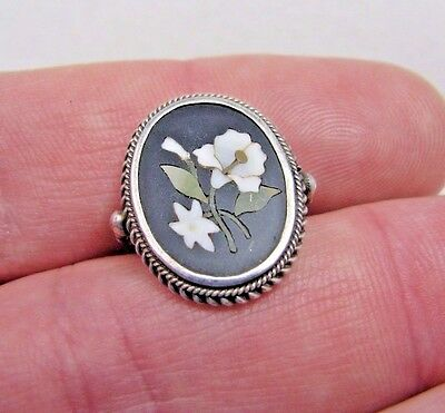 Antique Victorian .800 German Silver Pietra Dura Mosiac Flower Ring