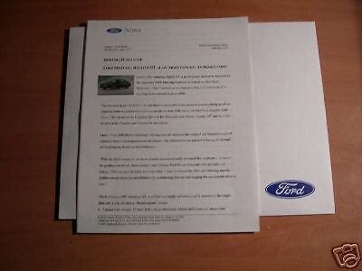 2001 Ford Mustang Bullitt Concept Press Kit
