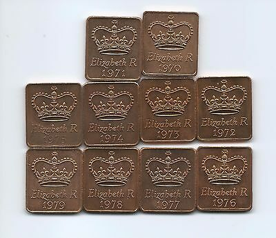 Complete Set of 1970's Royal Mint  Coin Set Medallions