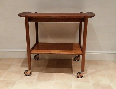 Retro teak serving trolley - mid century Danish style tea trolley with tray