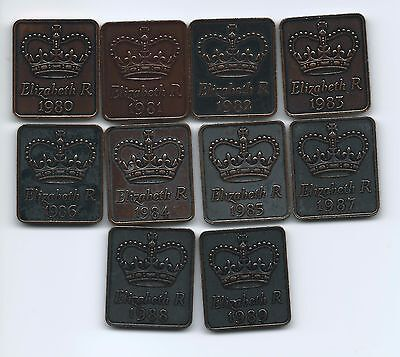Complete Set of 1980's Royal Mint  Coin Set Medallions
