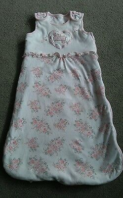 Cute Baby Girls Pink And White 2.5 Tog Bedtime Sleeping Bag - 6-12 Months