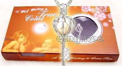 Wish Pearl 1 Box Key Pendant Necklace for Women Chokers Natural Oyster Gift Set