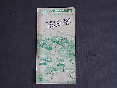 Swissair Timetable April 15 to October 20, 1951 Edition GB 14