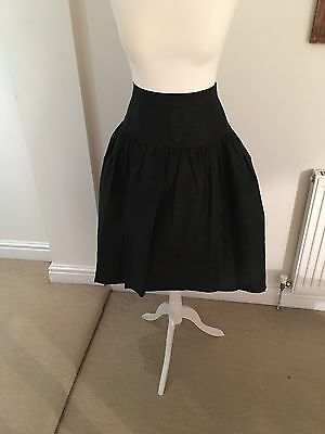 Vintage 1980's Black Silk Party Skirt Size 8