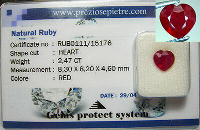 Rubino  In Blister  Naturale In Blister  Ct. 2,47 Cuore Rosso Sangue Top