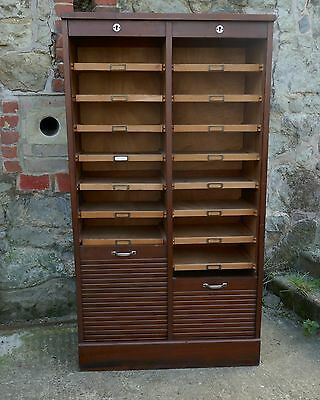 Double Tambour Fronted Mahogany Filing Cabinet
