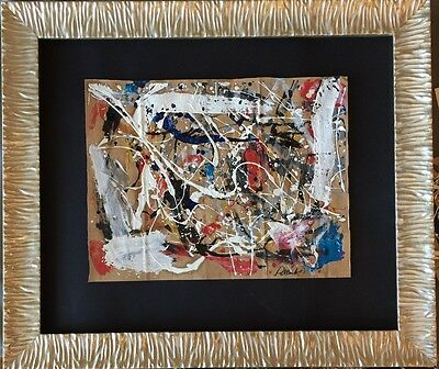 JACKSON POLLOCK - drawing on original paper of 50's - action painting