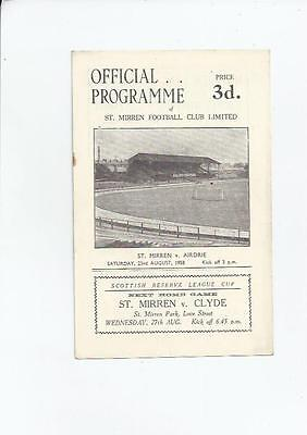 St Mirren v Airdrie Football Programme 1958/59
