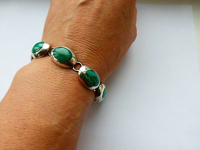 Mexican Silver Malachite bracelet chunky well made artisan piece