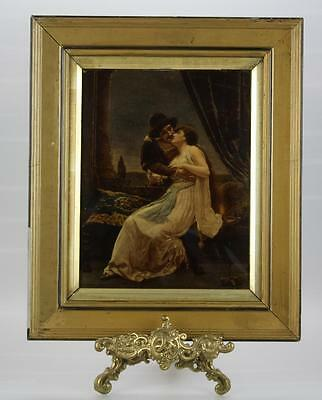 Antique Victorian Cristolean Picture of Pair of Lovers in Guilded Frame.
