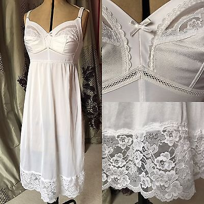 Vintage 60s Lace Nylon Shiny Slip Dress Nightie Nightdress Bullet Bra Shape Wear