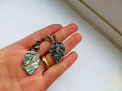Vintage art nouveau Signed Mexican Taxco Silver Abalone earrings 2