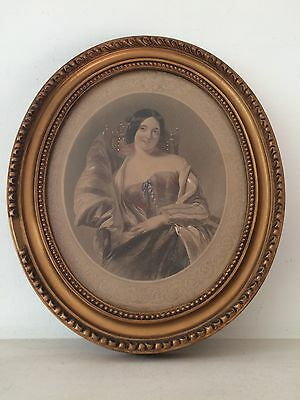 Antique Portrait Miniature In Oval Gilt Painting Frame Glazed 19th Century