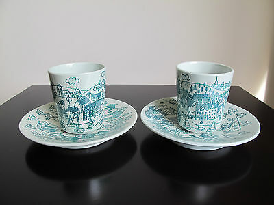 Set Of 2 Nymolle Art Faience Hoyrup Cups Made Denmark Limited Edition 4006