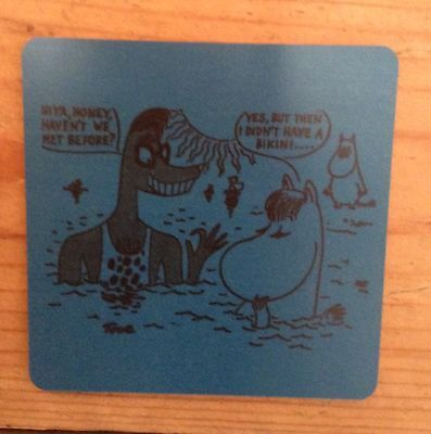 The Moomins Tove Jansson 100 anniversary birchwood promotional coaster, new