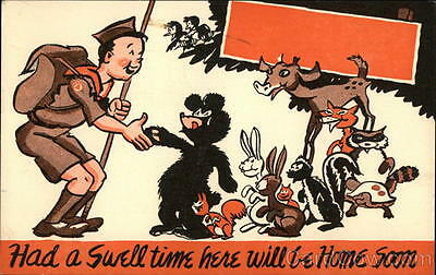 Boy Scout Had a swell time here will be home soon Chrome Postcard 3c stamp