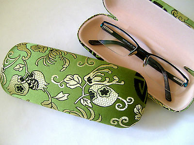 Silk Brocade Hard Glasses Case - Green Oriental.