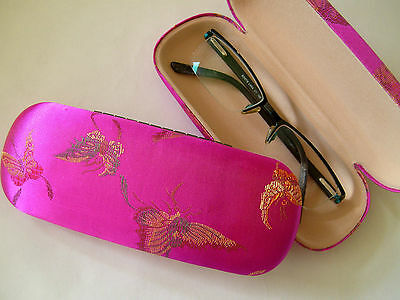 Silk Brocade Hard Glasses Case - Butterflies - Hot Pink
