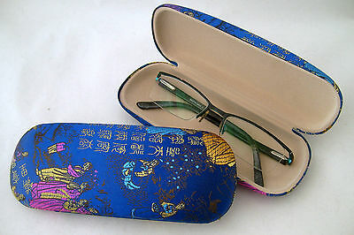 Silk Brocade Hard Glasses Case - Oriental Lady - Blue