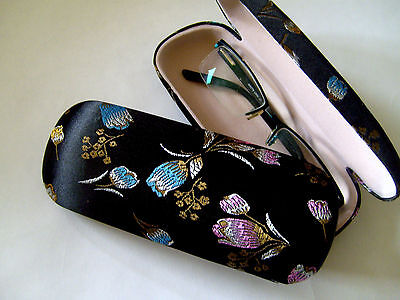 Silk Brocade Hard Glasses Case - Tulips - Black