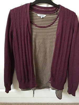 Matching Tulchan Long Sleeved Top And Cardigan Size 12 Plum Colour